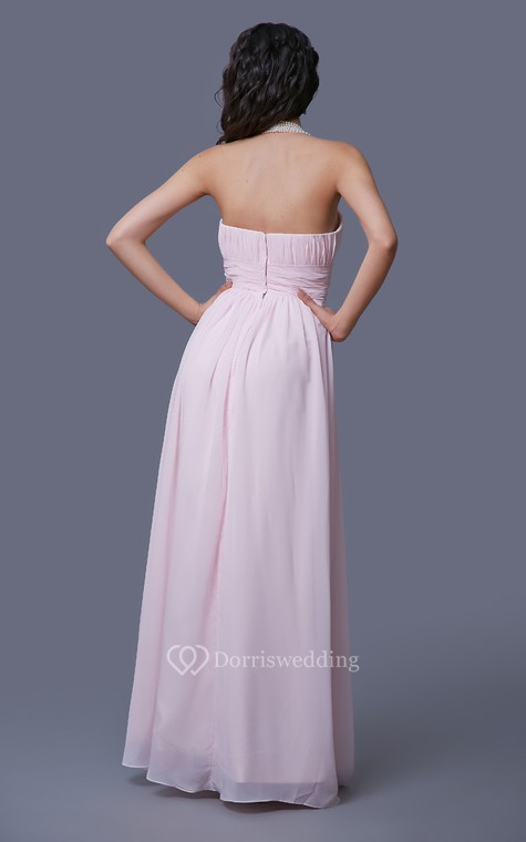 Feminine Strapless Empire-waisted Prom Gown with Pleats - 3