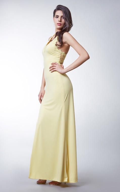 Long Jersey Dress with Side Slit and Keyhole Back - 3