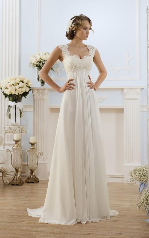 A-Line Long Cap-Sleeve Keyhole Chiffon Dress With Lace - 1