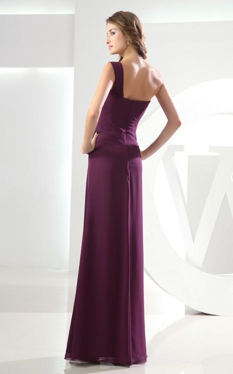 Adorable Chiffon Sleeveless Floor-Length Dress With Ruching - 5