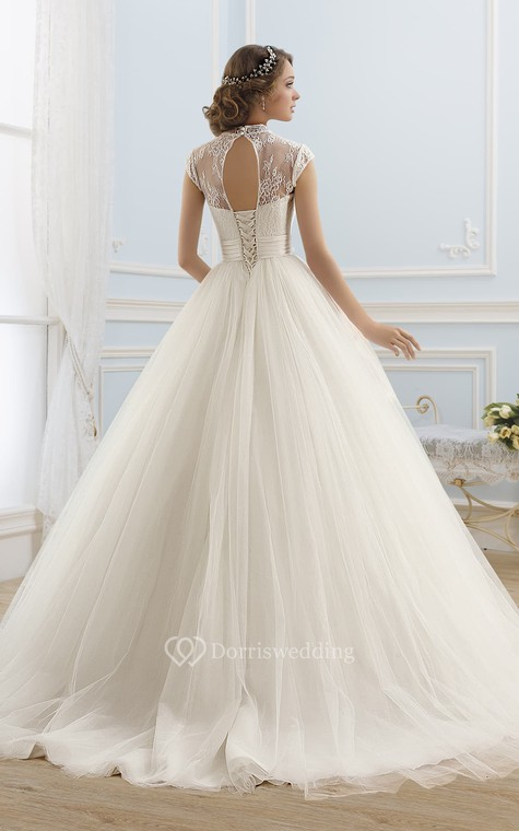 Ball Gown Maxi High-Neck Sleeveless Illusion Satin Dress With Lace - 2