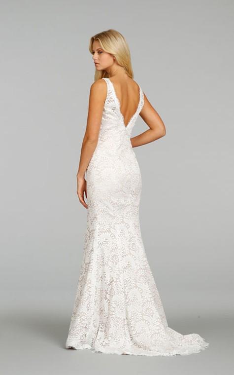 Classic Sleeveless V-Neck Floor Length Lace Dress - 4