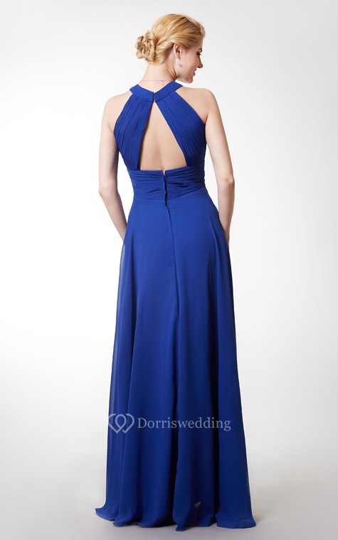 Chic High Neck Chiffon Gown With Ruching and Keyhole - 3