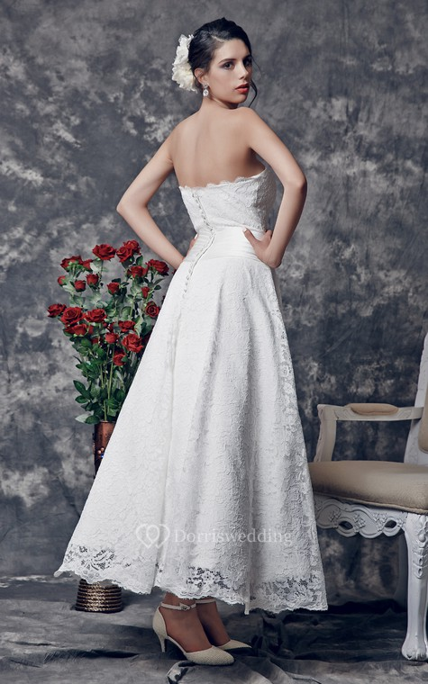 Delicate Strapless Tea Length Lace Dress With Floral Ruched Waistline - 3