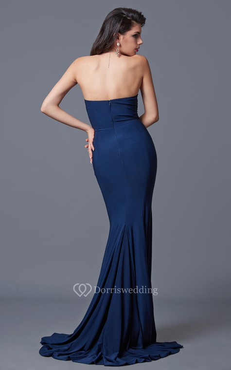 Sexy Sweetheart Mermaid Jersey Gown With Pleats - 3