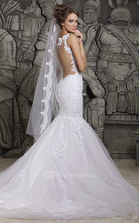 Magnificent Lace and Tulle Mermaid Dress with Wedding Veil - 4
