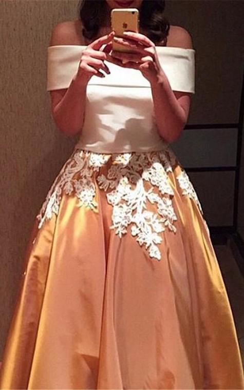 A-Line Off-the-Shoulder Cap Sleeves Appliques Long Prom Dress - 2
