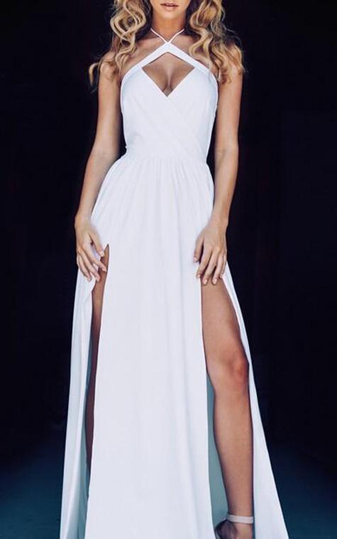 Chic Halter Chiffon 2016 Prom Dress Front Split Open Back - 2