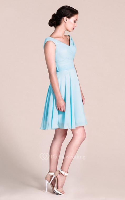 V-neck A-line Short Dress With Bow Tie - 2