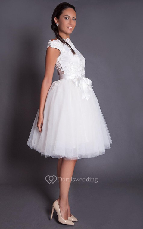 High Neck Cap Sleeve Knee Length A Line Lace And Tulle