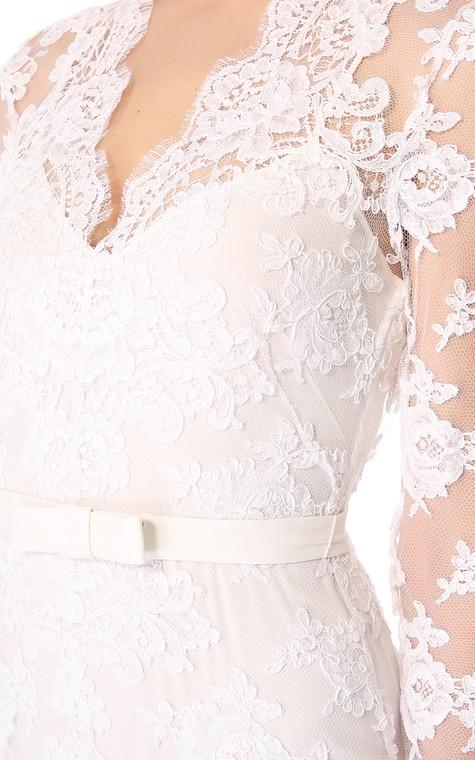 Unique Long Sleeves Long Low-V Sheath Lace Dress - 4