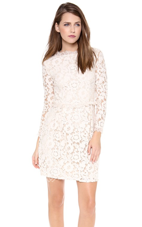 Short Long-sleeved Scooped Sheath Lace Dress - 1