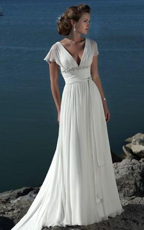 A-line V-neck Short Sleeves Beading Sweep Train Chiffon Beach Wedding Dress - 1