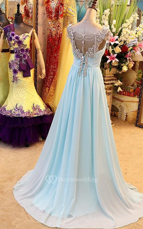 A-Line Backless Blue Evening Dresses V-Neck Crystal Beading Blingbling Prom Gowns - 2
