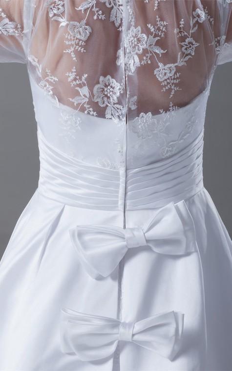 Exquisite Long Sleeve High Neck Satin Appliqued a Line Wedding Dresses - 6