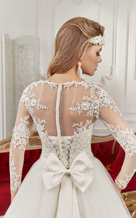 Bateau Floor-length Long Sleeve Illusion Back Appliques Dress With Bows - 3