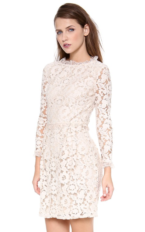 Short Long-sleeved Scooped Sheath Lace Dress - 3