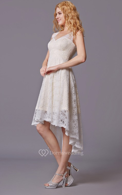 Traditional Twist Wedding Dress With Sleeveless Lacy Style and Asymmetrical Cut - 4