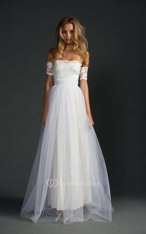 Off-The-Shoulder A-Line Tulle Dress With Lace Bodice - 3