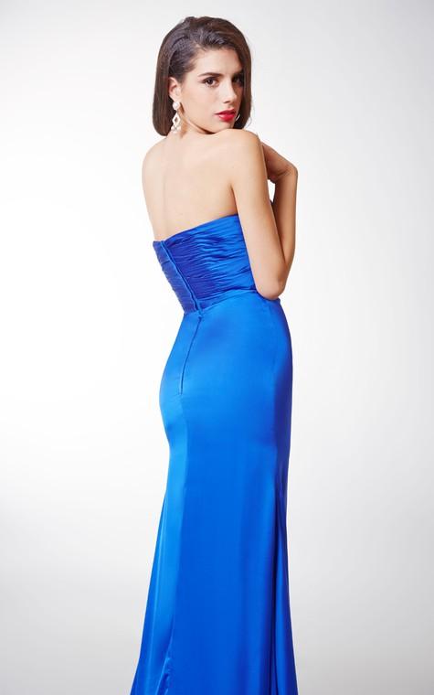 Long Sexy Brooched Satin Chiffon Dress - 2