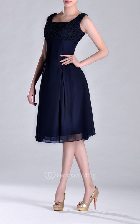 Scooped A-line Pleated Chiffon Knee-length Bridesmaid Dress - 2