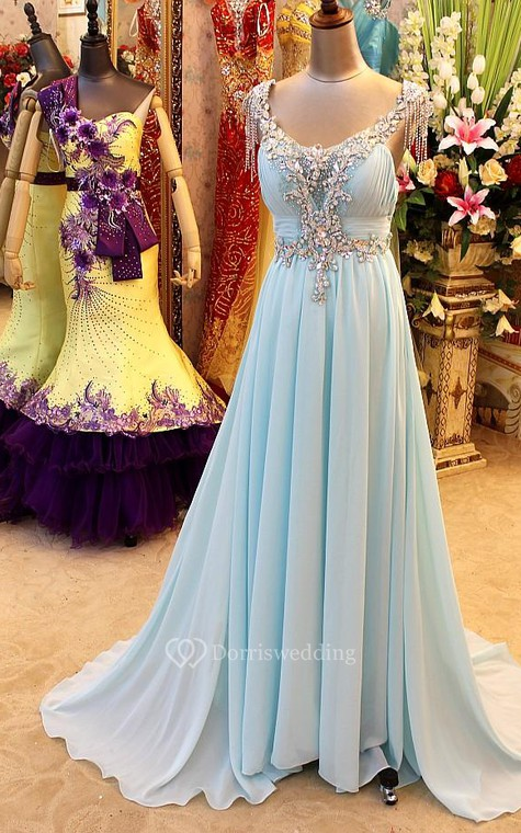 A-Line Backless Blue Evening Dresses V-Neck Crystal Beading Blingbling Prom Gowns - 1