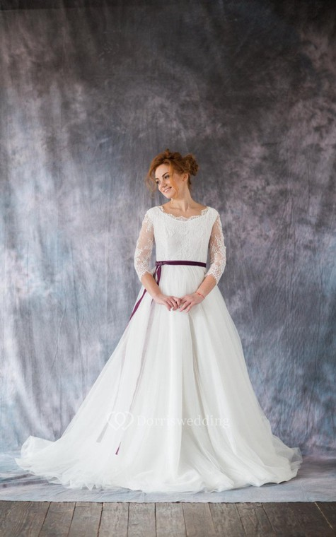 3-4 Sleeve A-Line Lace and Organza Dress With Bateau Neckline and Satin Sash - 2