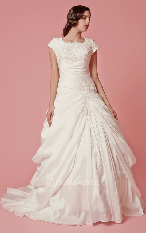 Romantic Pick-up A-line Taffeta Gown With Embroidered Neckline - 2