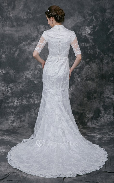 Vintage Scalloped-Edge Neckline Lace Bridal Gown with Half Sleeves - 3
