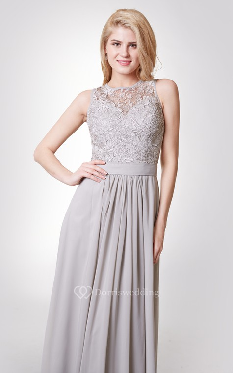 Tank Style A-line Chiffon Gown With Lace Bodice - 4