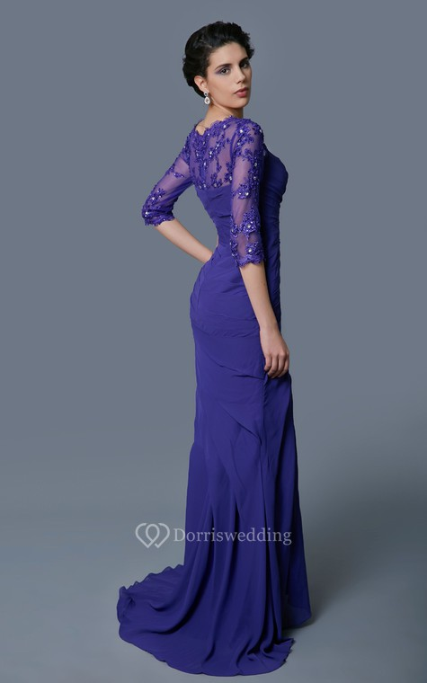 Classic A-line Long Formal Chiffon Dress With Lace Sleeves - 3