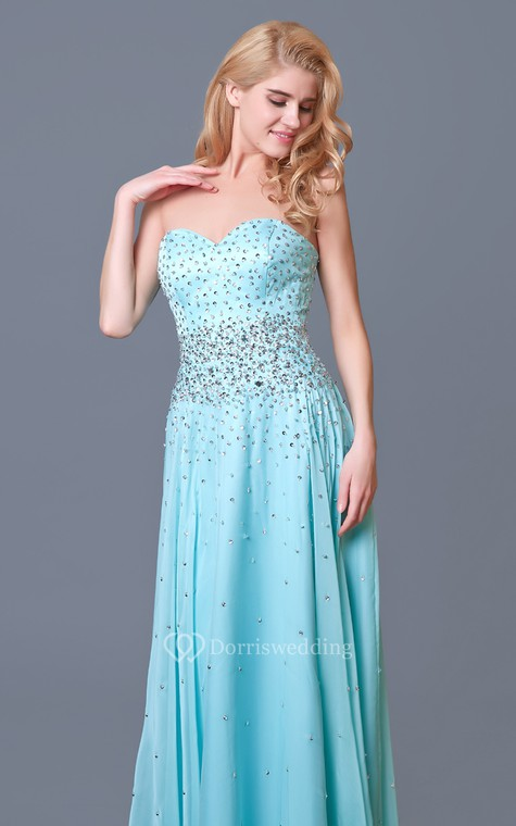 Glam Chic Beaded Sweetheart Layered A-line Chiffon Prom Gown - 5