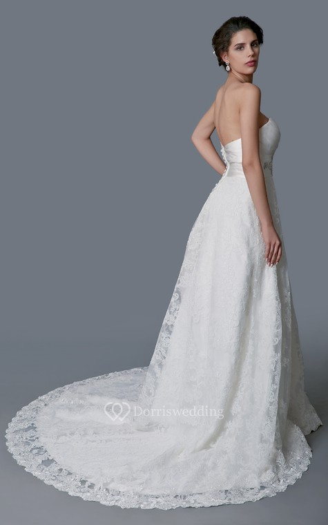Gorgeous Sweetheart Backless Satin and Lace Ball Gown - 4