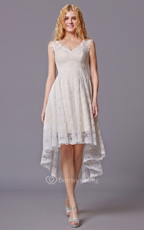 Traditional Twist Wedding Dress With Sleeveless Lacy Style and Asymmetrical Cut - 1