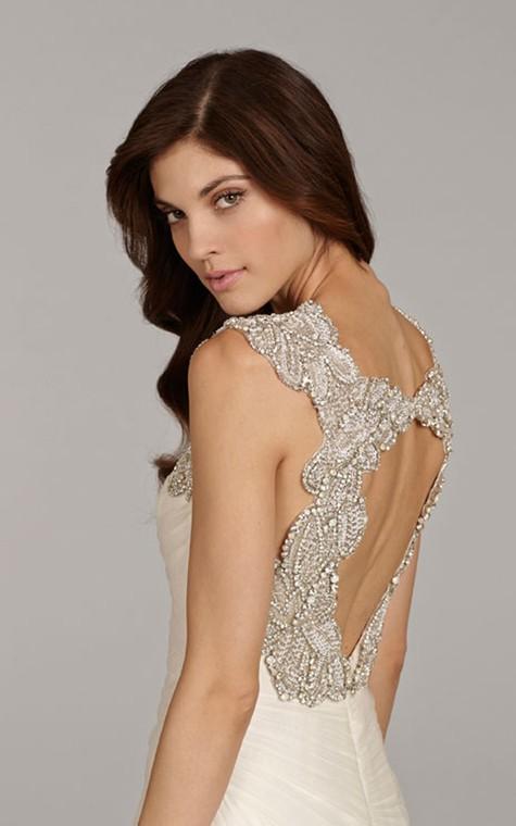 Stunning Sleeveless Ruched Flounced Dress With Beaded Embellished Keyhole Back - 3