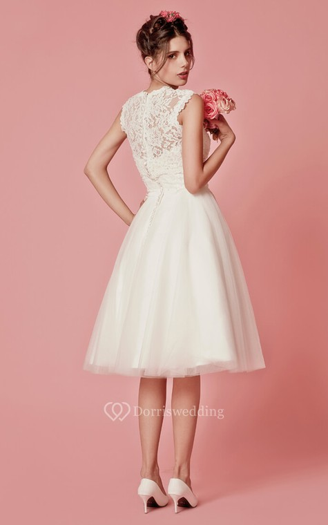 Aristocratic Cap-sleeve High Neck Tea-length Dress With Lace Top - 5