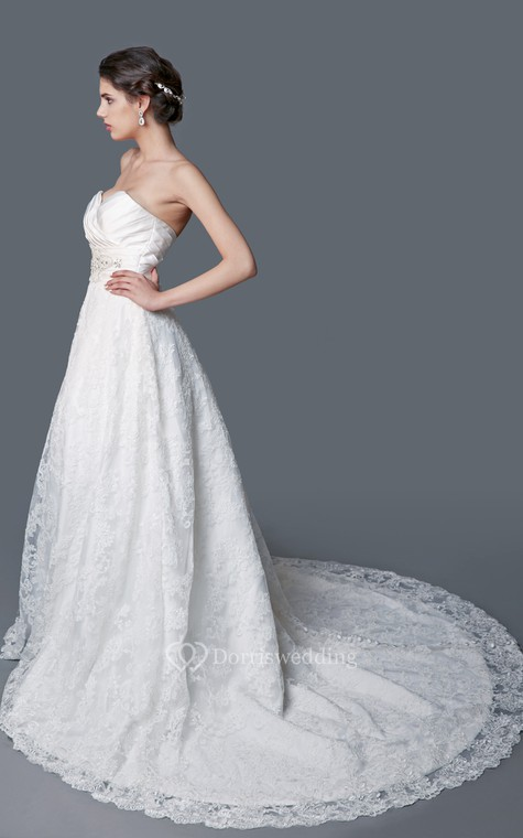 Gorgeous Sweetheart Backless Satin and Lace Ball Gown - 2