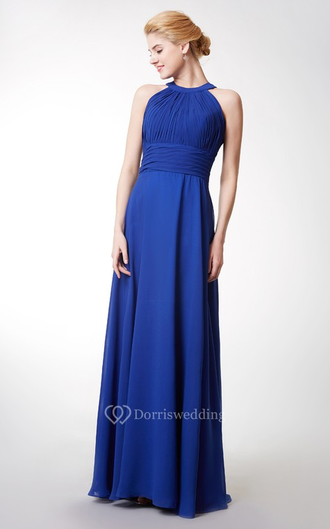 Chic High Neck Chiffon Gown With Ruching and Keyhole - 2