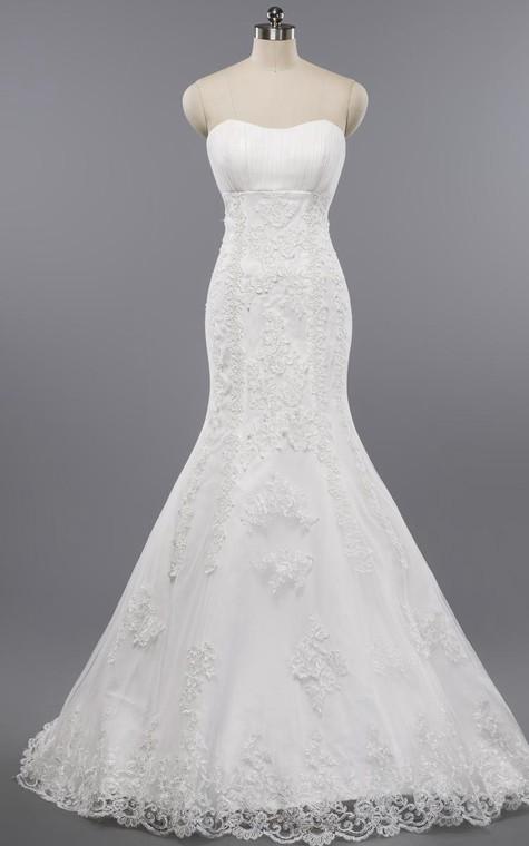 Mermaid Floor-Length Sweetheart Sleeveless Bell Appliques Zipper Keyhole Tulle Lace Dress - 1