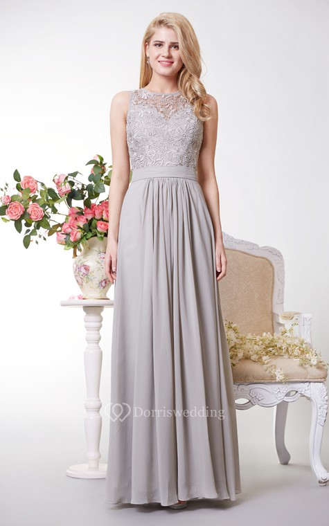 Tank Style A-line Chiffon Gown With Lace Bodice - 1