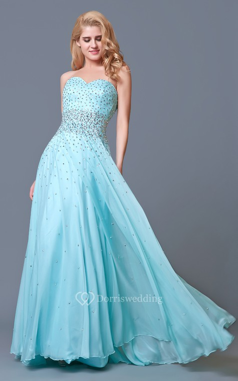 Glam Chic Beaded Sweetheart Layered A-line Chiffon Prom Gown - 3