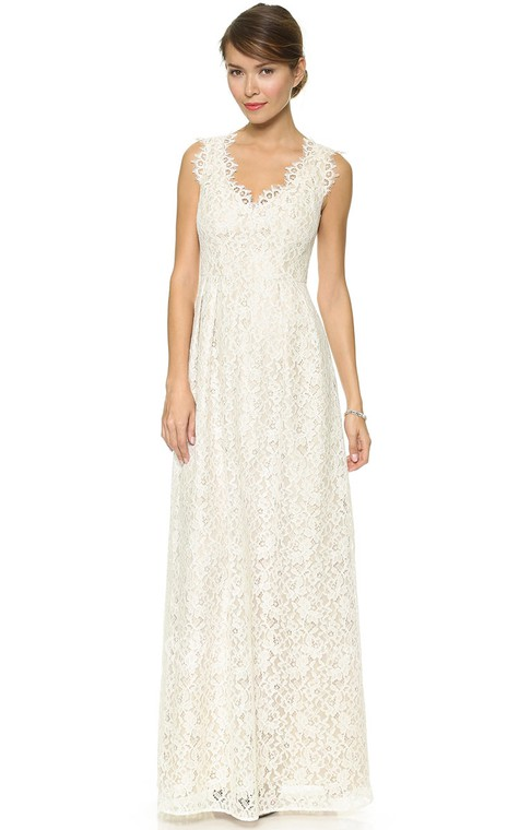 Long Neckline Sheath Lace Dress With Side Draping - 1