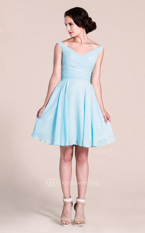 V-neck A-line Short Dress With Bow Tie - 1