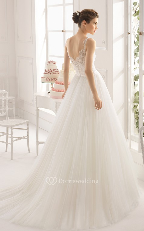 Dreaming Sleeveless A-Line Tulle Long Dress With Baeau Neckline - 2