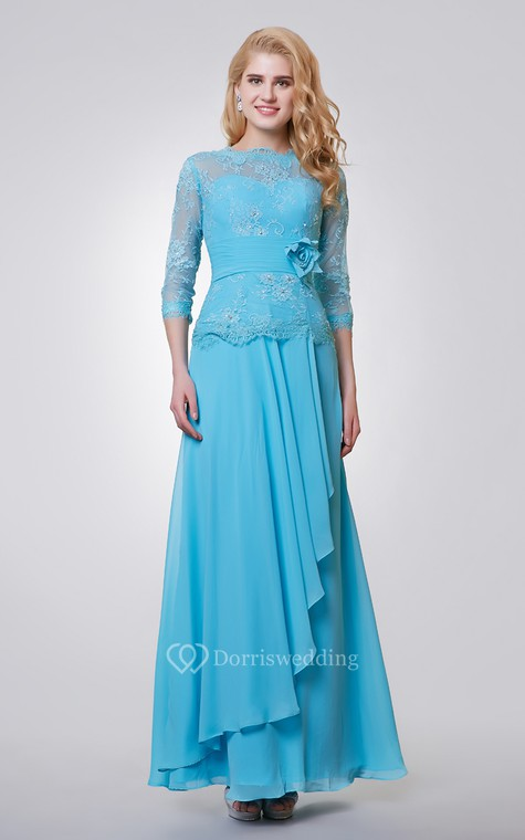 3-4 Length Sleeve Long Chiffon and Lace Dress With Side Draping - 1