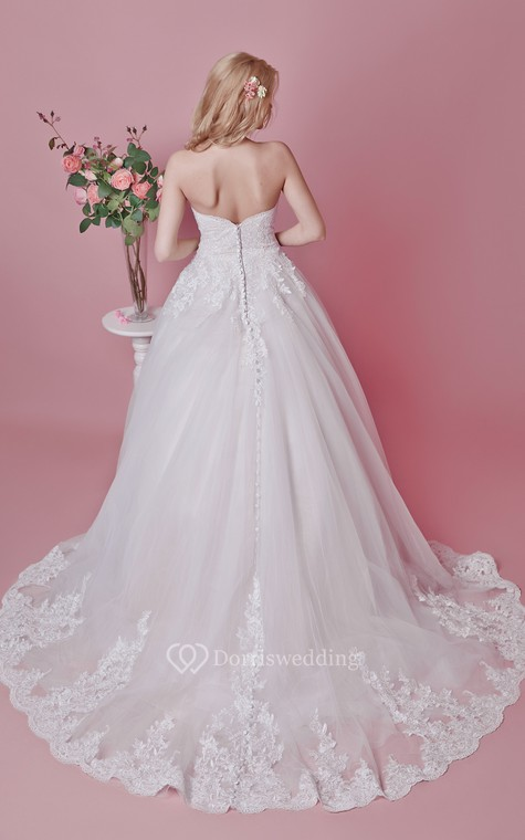 Romantic Sweetheart Floral Lace Applique and English Net Wedding Ball Gown - 3