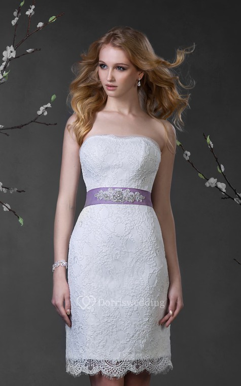Pencil Short Strapless Sleeveless Lace-Up Lace Dress With Waist Jewellery - 1