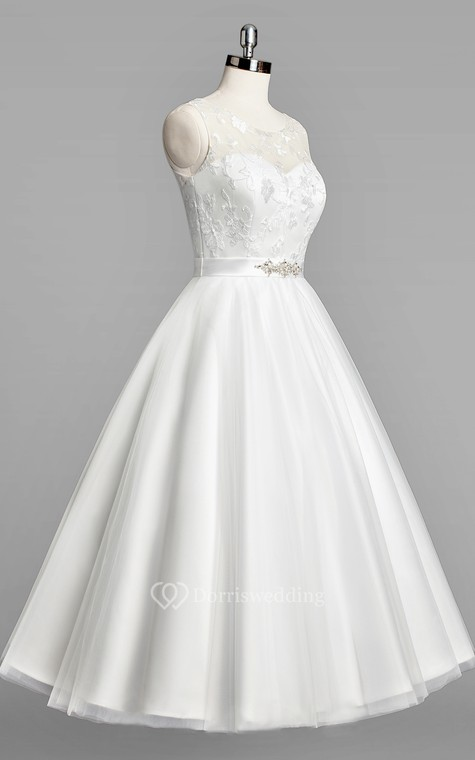 Scoop Neck Sleeveless A-Line Tulle Tea-Length Wedding Dress With Beaded Sash - 1