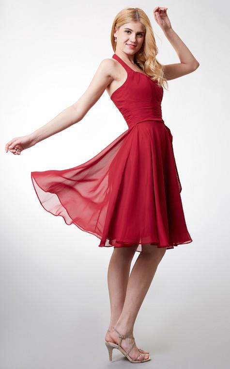 Elegant Halter Style Soft-pleated Layered A-line Chiffon Dress - 5