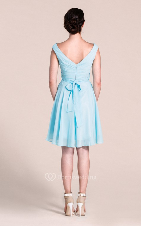 V-neck A-line Short Dress With Bow Tie - 3